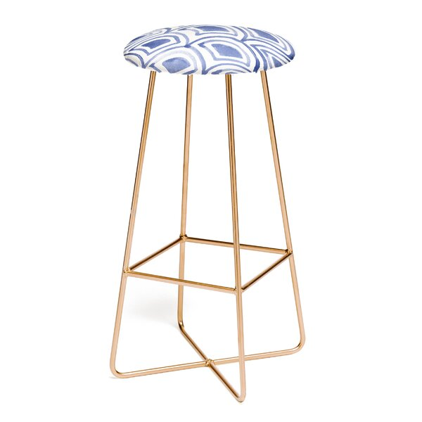 Natalie Baca Geo Wave Indigo 31 Bar Stool by East Urban Home
