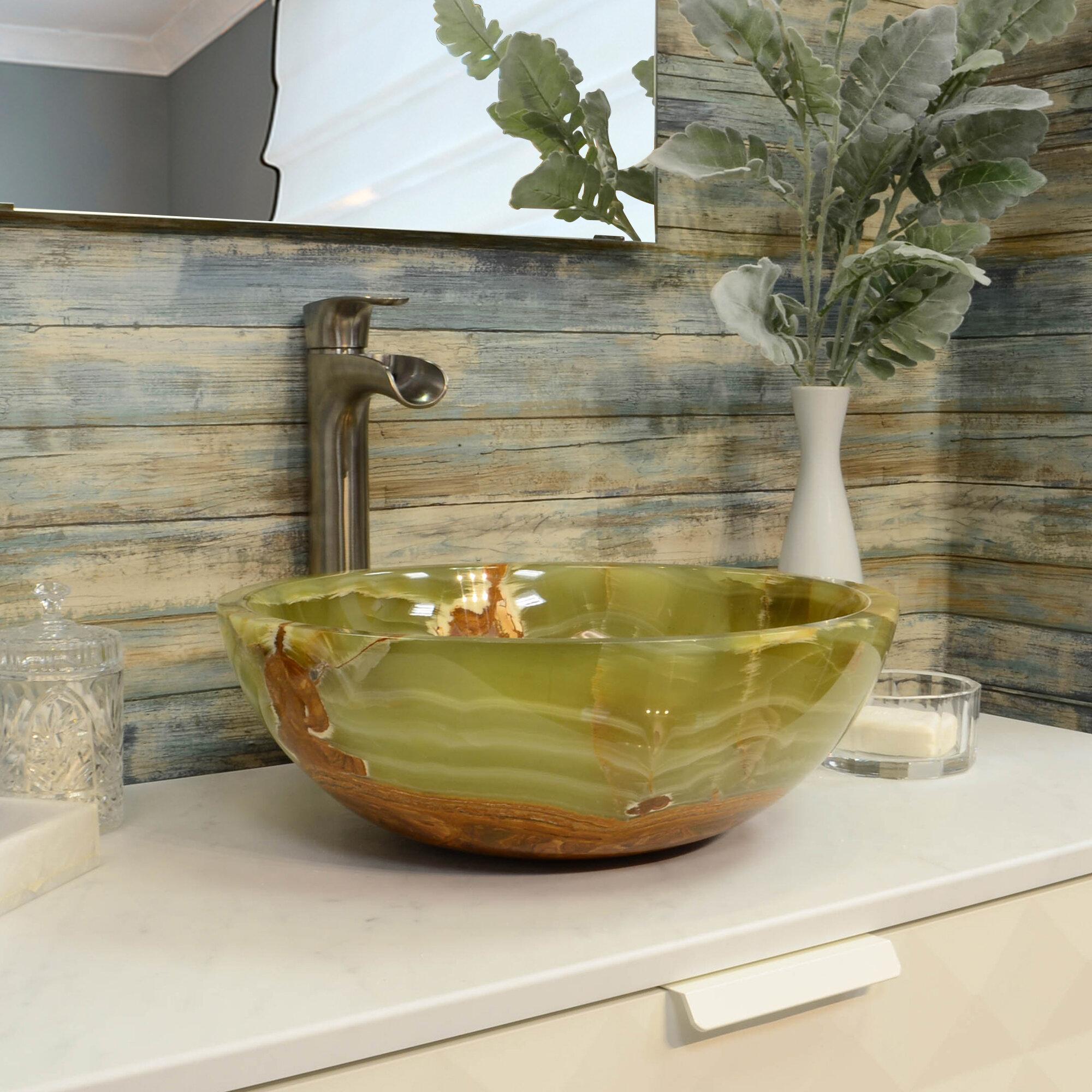 Snk rd ga s onyx stone circular vessel bathroom sink