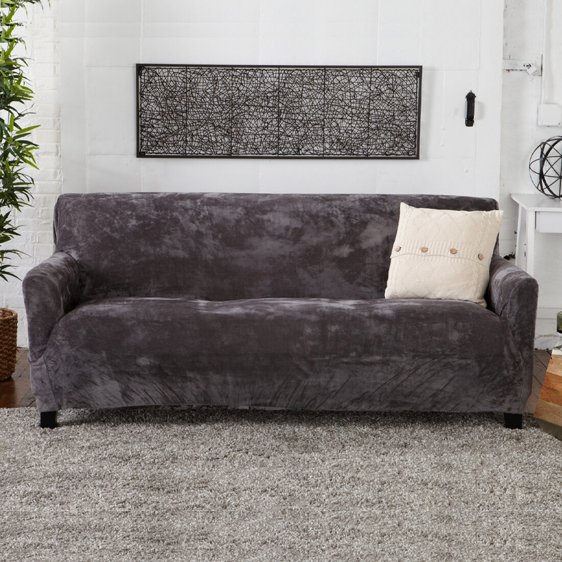 2 Piece Stretch Fabric Form Fit Solid Grey Couch Sofa Loveseat Cover Set Home Garden Slipcovers