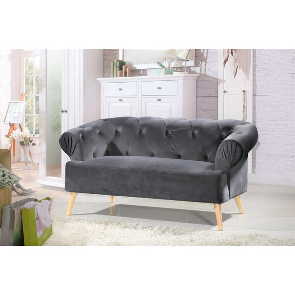 Modern Aahil Chesterfield Loveseat by Mercer41 by Mercer41