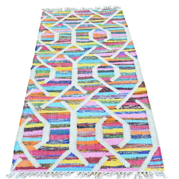 Kilim Flat Weave Hand-Knotted Blue/Yellow/Orange Area Rug by Bungalow Rose