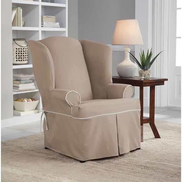 Serta Relaxed Fit Twill Wingback Chair Slipcover by Serta