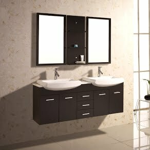 60 Double Floating Bathroom Vanity Set with Mirror and Shelves by Kokols