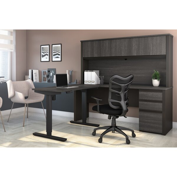 Kenworthy Reversible L-Shape Standing Desk with Hutch