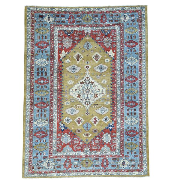 One-of-a-Kind Granberry Vintage Overdyed Hand-Knotted Light Green Area Rug by Bloomsbury Market