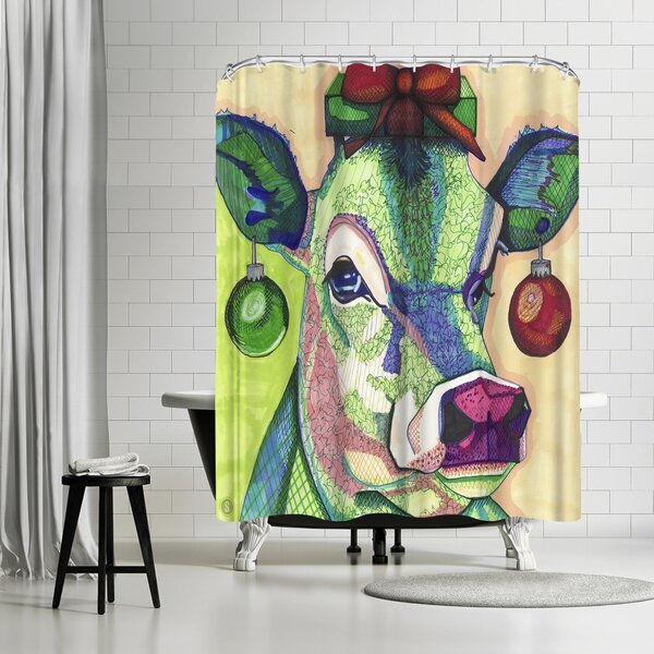 East Urban Home Solveig Studio Christmas Cow Shower Curtain