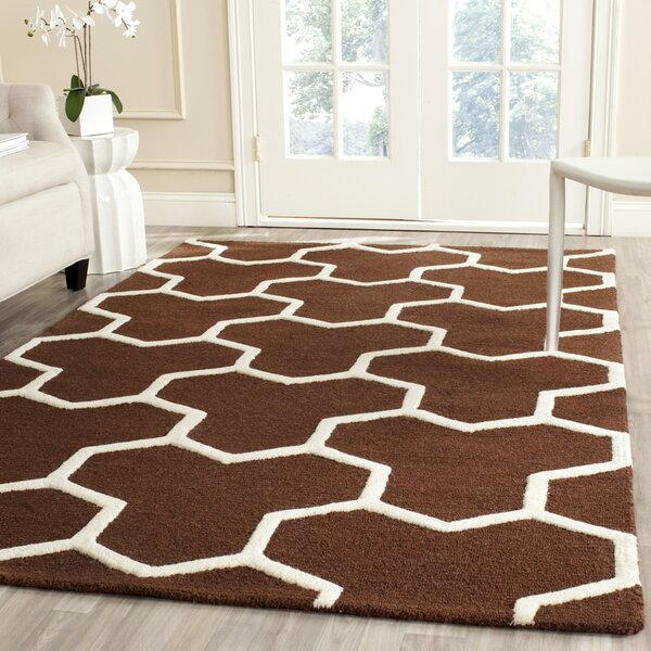 Martins Hand-Tufted Wool Brown/Ivory Area Rug by Wrought Studio
