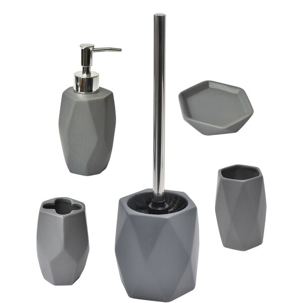 Diamond 5 Piece Bathroom Accessory Set by Evideco
