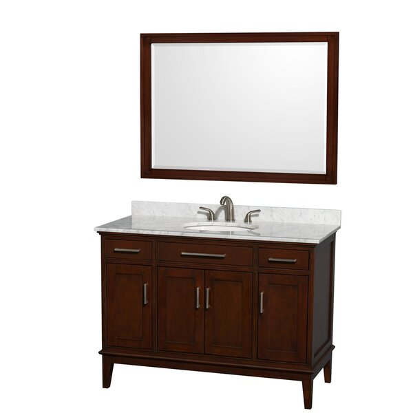 Hatton 48 Single Dark Chestnut Bathroom Vanity Set with Mirror by Wyndham Collection