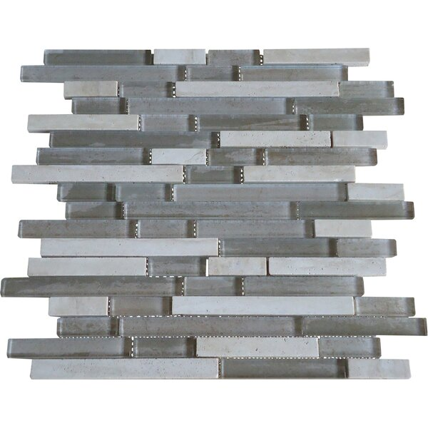 Parallel Random Sized Marble and Glass Mosaic Tile in Grey and Cream by Mulia Tile