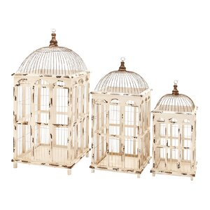 Metal 3 Piece Decorative Bird Cage Set