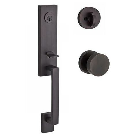 Seattle Single Cylinder Handleset with Contemporary Door Knob and Contemporary Round Rose by Baldwin