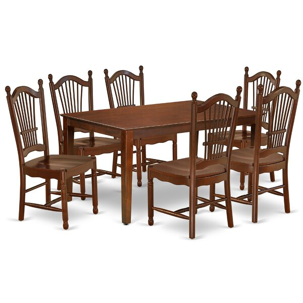 Schott 7 Piece Solid Wood Dining Set by Charlton Home Charlton Home