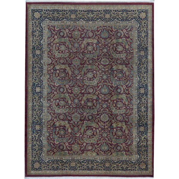 One-of-a-Kind Shamas Hand-Knotted Blue/Red 10'4 x 13'11 Wool Area Rug