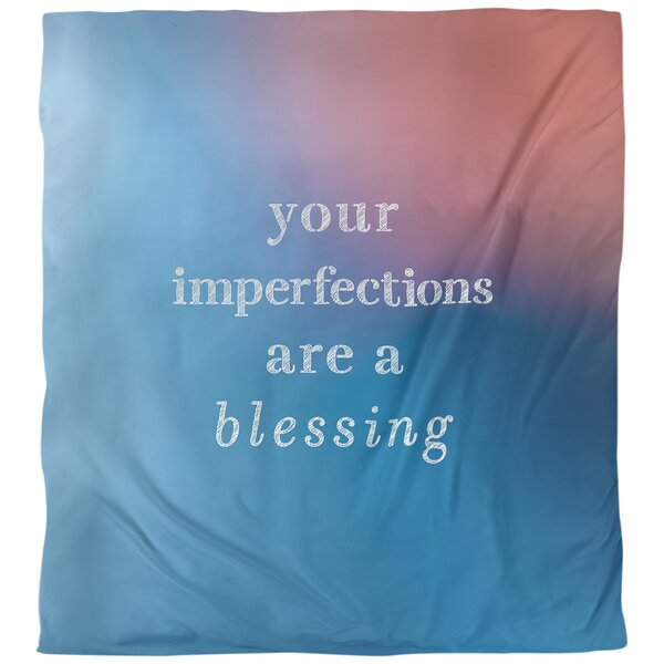 Quotes Imperfections Inspirational Single Reversible Duvet Cover