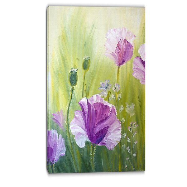 Poppies in Morning Floral Painting Print on Wrapped Canvas by Design Art