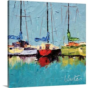 'Boats at Hvar' by Leslie Saeta Painting Print on Wrapped Canvas by Great Big Canvas
