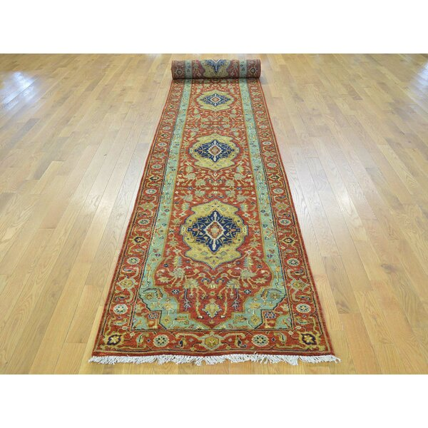 One-of-a-Kind Beare Antiqued Handwoven Red Wool Area Rug by Isabelline