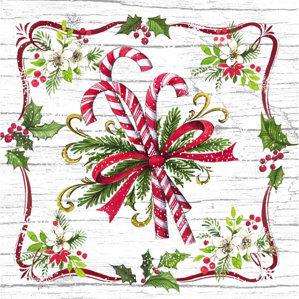 Candy Cane Paper Luncheon Napkin by The Holiday Aisle
