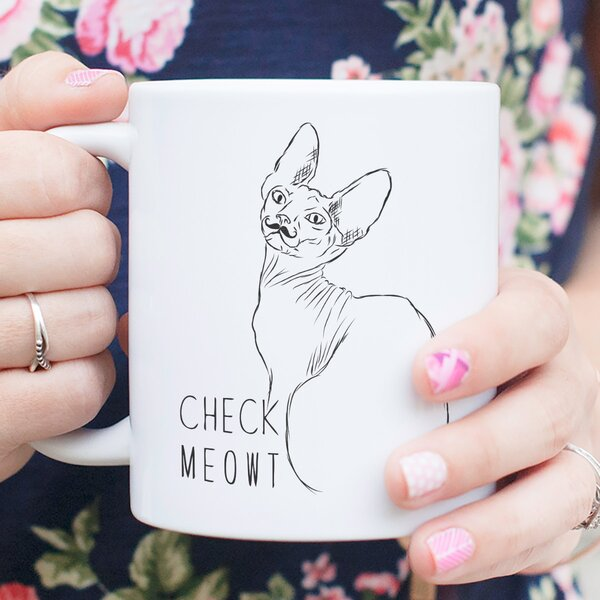 Crowell Check Meowt Sphynx Cat Coffee Mug by Wrought Studio