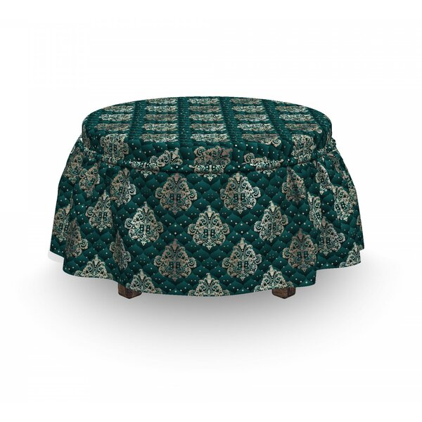 Damask French Rococo Motifs 2 Piece Box Cushion Ottoman Slipcover Set By East Urban Home