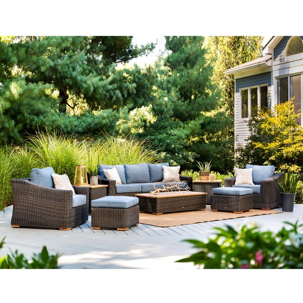 New Boston 8 Piece Teak Sunbrella Seating Group with Cushion by La-Z-Boy Outdoor