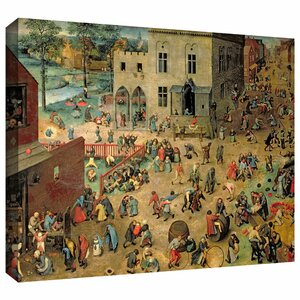 'Childrens Games' by Pieter Bruegel Painting Print on Wrapped Canvas by ArtWall