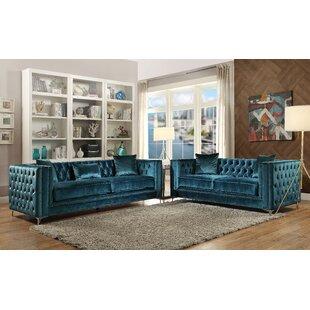 Tiegan 2 Piece Velvet Living Room Set by Everly Quinn