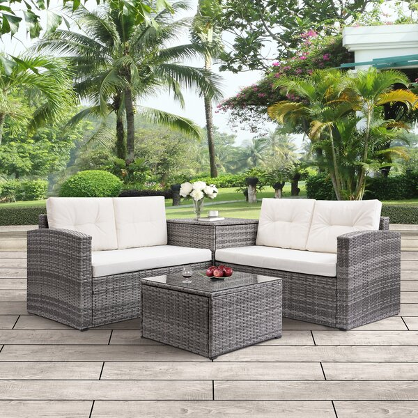 Breed 4 Piece Rattan Sofa Seating Group with Cushions by Wrought Studio