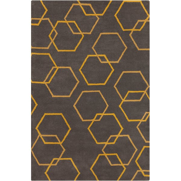 Burns Patterned Contemporary Wool Charcoal/Yellow Area Rug by Wrought Studio