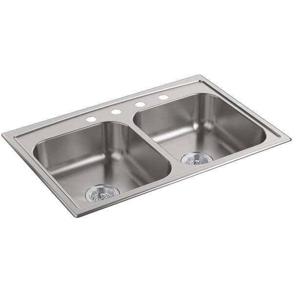 Toccata 33 L x 22 W x 6 Top-Mount Double-Equal Bowl Kitchen Sink