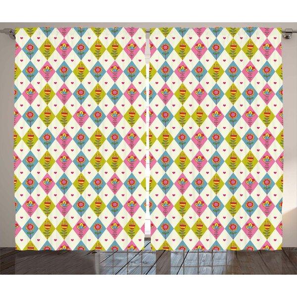 Covertt Floral Cute Tulips Pattern inside Geometric Rhombus Diamonds and Hearts Artsy Print Graphic Print & Text Semi-Sheer Rod Pocket Curtain Panels (Set of 2) by Latitude Run