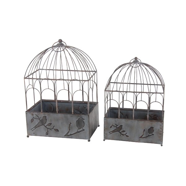 Stier Rustic Bird Cage 2-Piece Metal Planter Box Set by Winston Porter
