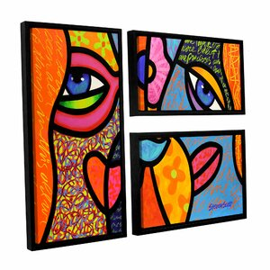 Eye To Eye by Steven Scott 3 Piece Framed Graphic Art on Canvas Set by ArtWall