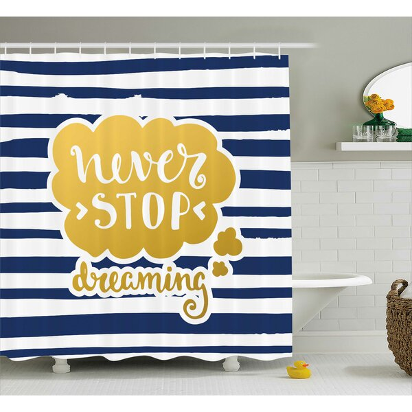 Carrie Quotes Marine Inspirational Phrase For Life Decorative Navy Vintage Style Design Image Shower Curtain by Harriet Bee