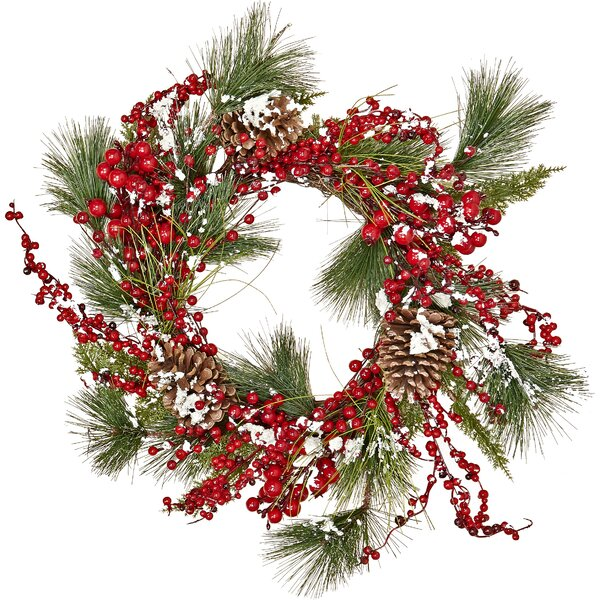 Snowy Berry Pine, Pine Cone, Wreath by Three Posts