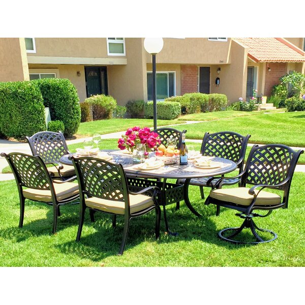 Beadle Oval 7 Piece Dining Set with Cushions by Da