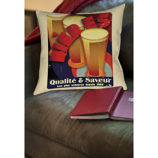 Bieres Qualite and Saveur Printed Throw Pillow by Manual Woodworkers & Weavers