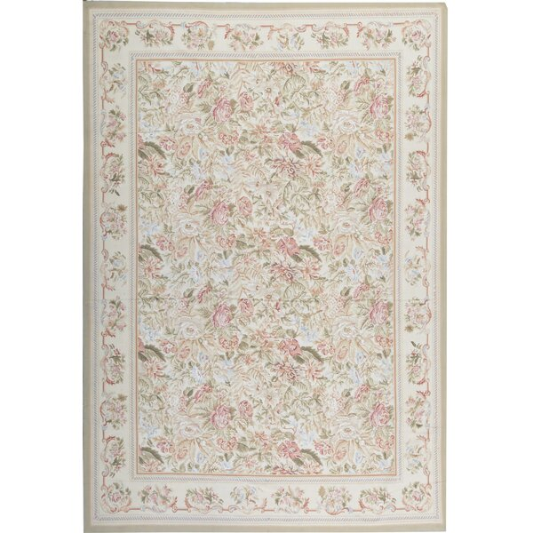 Floral Hand-Knotted 9.10' x 14.4' Wool Ivory/Beige Area Rug