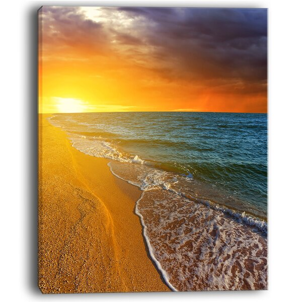 Fantastic Yellow Sky in Blue Beach Large Seashore Photographic Print on Wrapped Canvas by Design Art