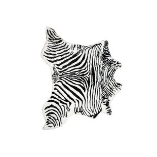 Top Seaford Zebra Black/White Area Rug By World Menagerie