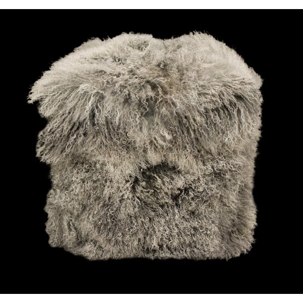 Blouin Tibetan Upholstered Lamb Pouf by Union Rustic
