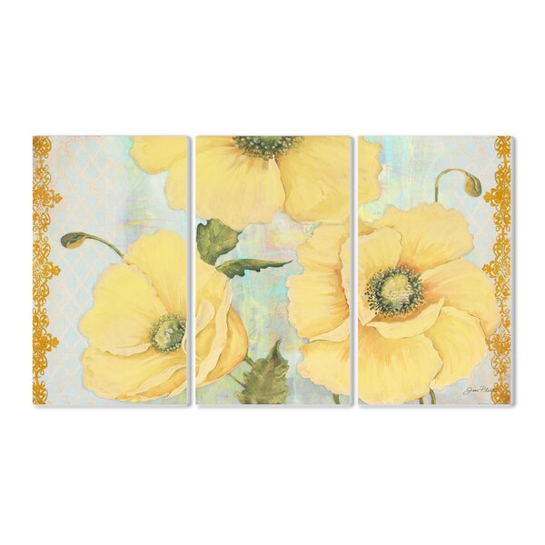 Yellow Poppies on Aqua 3 Piece Triptych Wall Plaque Set by Stupell Industries