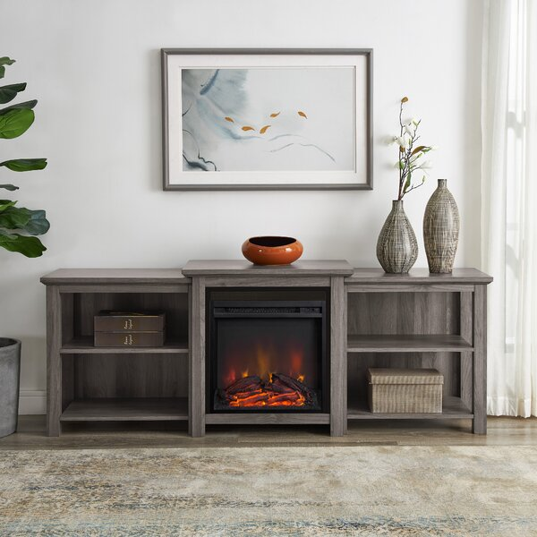 Top Reviews Woodbury TV Stand for TVs up to 78 with Fireplace Included by Millwood Pines