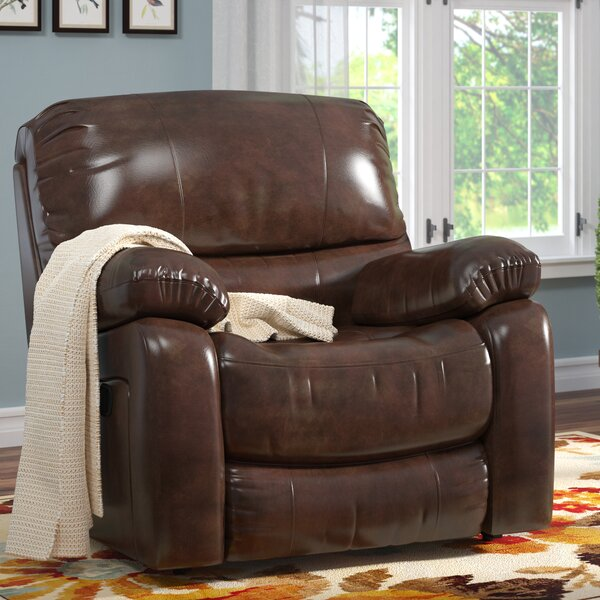 Gracehill Leather Manual Wall Hugger Recliner by Three Posts