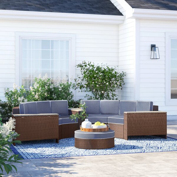 Bermuda 8 Piece Rattan Sectional Seating Group with Cushions by Sol 72 Outdoor