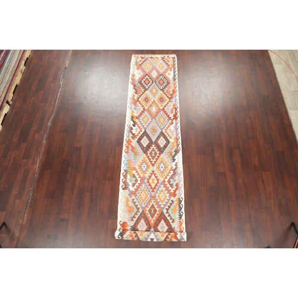 One-of-a-Kind Crosswhite Turkish Handmade Kilim 3X19 Wool Beige Area Rug