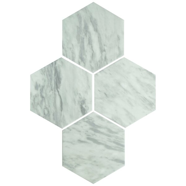 Karra Hexagon 7 x 8 Porcelain Field Tile in White/Gray by EliteTile