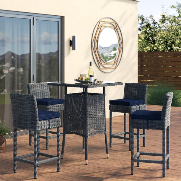 Keiran 5 Piece Bar Height Dining Set With Cushion By Brayden Studio by Brayden Studio Reviews