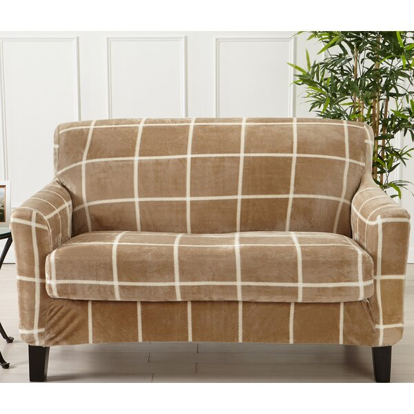 Velvet Plush Box Cushion Loveseat Slipcover By Canora Grey